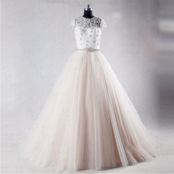 Chic / Beautiful Champagne Cathedral Train Wedding 2018 A-Line / Princess See-through Tulle High Neck Backless Beading Pleated Rhinestone Wedding Dresses
