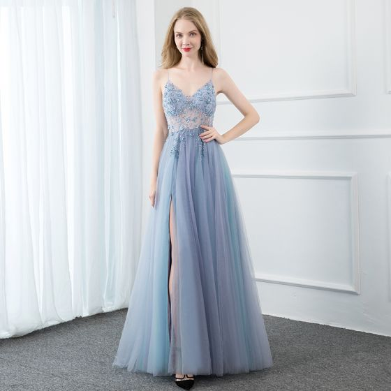 Sexy Sky Blue Prom Dresses 2020 A-Line / Princess Spaghetti Straps Beading Crystal Sequins Pearl Sleeveless Backless Split Front Floor-Length / Long Formal Dresses