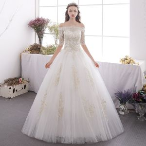 Affordable Ivory Outdoor / Garden Wedding Dresses 2019 A-Line / Princess Off-The-Shoulder 1/2 Sleeves Backless Appliques Lace Glitter Sequins Floor-Length / Long Ruffle