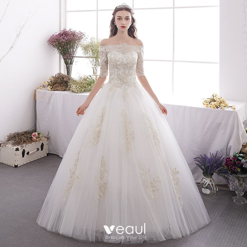 Affordable Ivory Outdoor Garden Wedding Dresses 2019 A Line