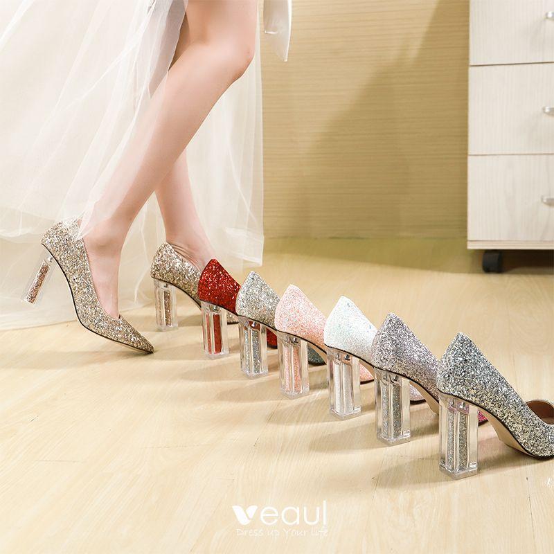Scintillantes Champagne Glitter Paillettes Chaussure De Mariée