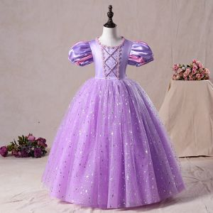 Vintage / Retro Lilac Birthday Flower Girl Dresses 2020 Princess Scoop Neck Puffy Short Sleeve Beading Sequins Floor-Length / Long Ruffle