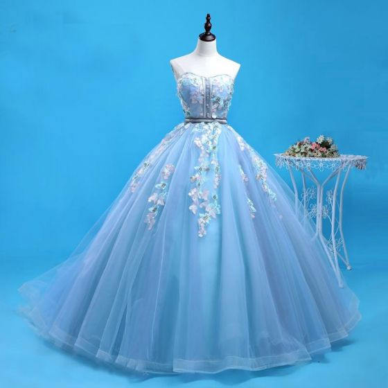 Chic / Beautiful Pool Blue Prom Dresses 2019 Ball Gown Sweetheart Lace Flower Sleeveless Backless Chapel Train Formal Dresses
