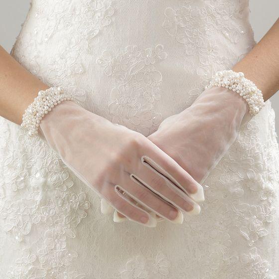 Fine Elfenben Bryllup 2018 Tyll Beading Perle Brudehansker