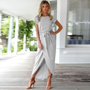 Modest / Simple Sky Blue Summer Maxi Dresses 2018 Scoop Neck Short Sleeve Lace-up Ankle Length Ruffle Womens Clothing