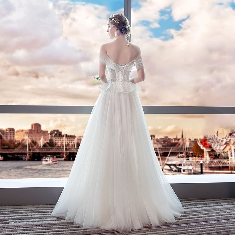 Chic / Beautiful Ivory Beach Wedding Dresses 2018 A-Line / Princess Beading Pearl Lace Flower Off-The-Shoulder Backless Sleeveless Split Front Floor-Length / Long Wedding