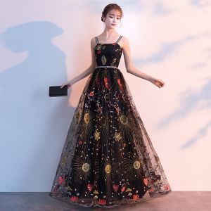 Lovely Black Evening Dresses  2019 A-Line / Princess Spaghetti Straps Sleeveless Cartoon Embroidered Sash Floor-Length / Long Ruffle Backless Formal Dresses
