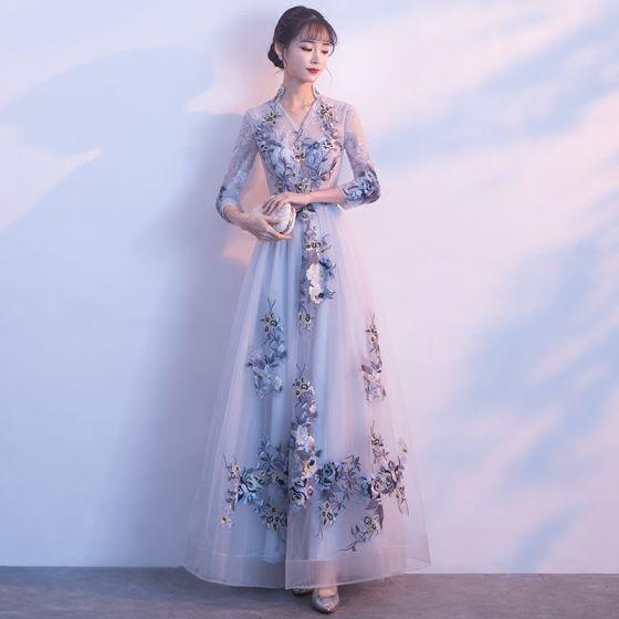 Hermoso Plata Vestidos de gala 2017 A-Line / Princess Único V-Cuello 3/4 Ærmer Apliques Con Encaje Largos Traspasado Vestidos Formales