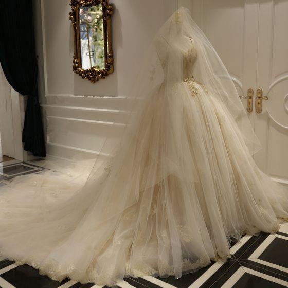 Luxury / Gorgeous Champagne Wedding Dresses 2018 Backless Ball Gown Beading Sequins Spaghetti Straps Sleeveless Royal Train Wedding