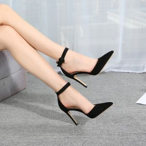 Modest / Simple Black Street Wear Womens Shoes 2020 Ankle Strap 10 cm Stiletto Heels Pointed Toe Heels