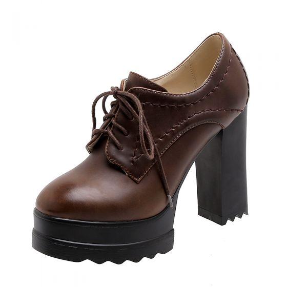 Vintage Brun Gateklær Kvinners støvler 2021 11 cm Tykk Hæler Vanntette Rund Tå Boots Høyhælte
