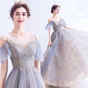 Elegant Grey Prom Dresses 2020 A-Line / Princess Scoop Neck Beading Sequins Short Sleeve Backless Floor-Length / Long Formal Dresses