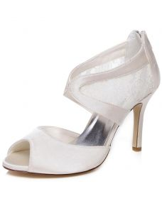 Beautiful Satin Wedding Sandals 9 cm Stiletto Heels Bridal Shoes Peep Toe High Heels