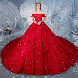 Stunning Red Wedding Dresses 2019 A-Line / Princess Off-The-Shoulder Beading Pearl Sequins Lace Flower Short Sleeve Backless Royal Train