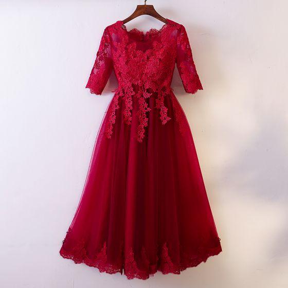 Piękne Burgund Homecoming Sukienki Na Studniówke 2017 Princessa Koronkowe Aplikacje Wycięciem 1/2 Rękawy Długość do kolan Sukienki Wizytowe