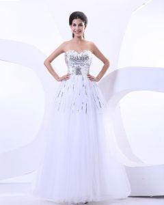 Strapless Gauze Ruffle Beading Floor Length Prom Dresses