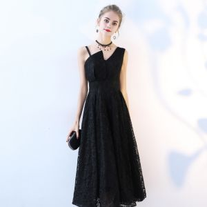 Hermoso Negro de fiesta Vestidos de graduación 2017 A-Line / Princess Único V-Cuello Sin Espalda Sin Mangas Té De Longitud Vestidos Formales