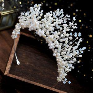 Elegante Ivoor Bruids Haaraccessoires 2019 Legering Parel Kristal Tiara Huwelijk Accessoires
