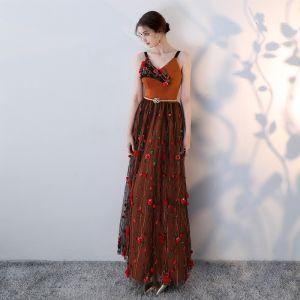 Modern / Fashion Orange Evening Dresses  2018 A-Line / Princess Spaghetti Straps Sleeveless Appliques Flower Metal Sash Floor-Length / Long Ruffle Backless Formal Dresses