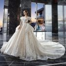 Vintage / Retro Champagne Wedding Dresses 2019 Ball Gown Square Neckline Short Sleeve Backless Glitter Appliques Lace Cathedral Train Ruffle