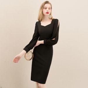 Modest / Simple Black Homecoming Graduation Dresses 2020 A-Line / Princess Square Neckline Puffy Long Sleeve Short Formal Dresses