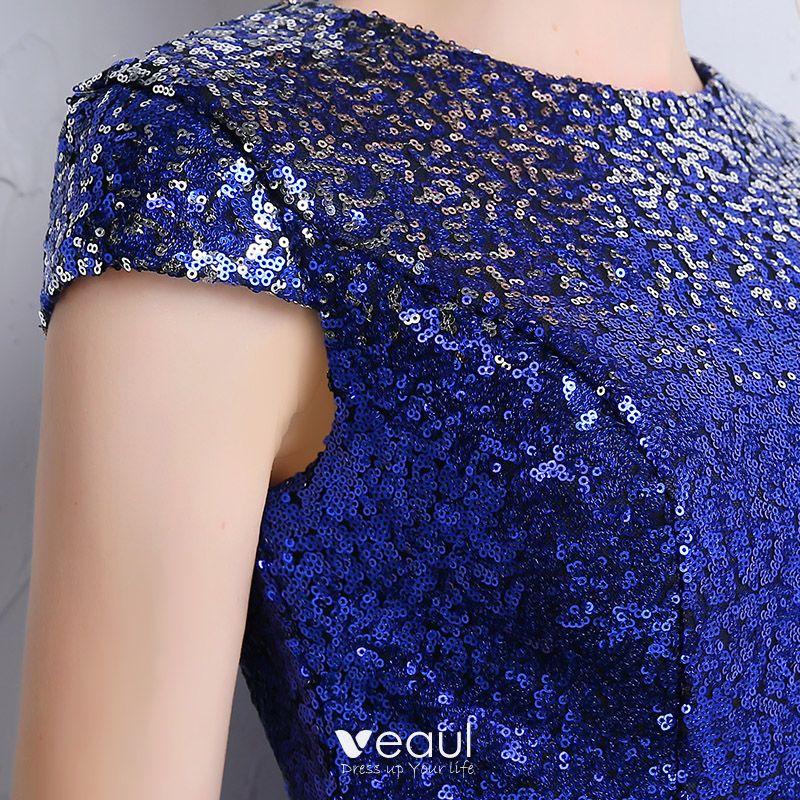 Glitzernden Konigliches Blau Silber Pailletten Abendkleider 2018 Mermaid Rundhalsausschnitt Armel Metall Stoffgurtel Lange Festliche Kleider