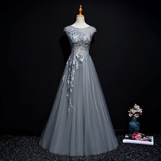 Classy Grey Evening Dresses  2019 A-Line / Princess Scoop Neck Beading Pearl Sequins Lace Flower Sleeveless Sweep Train Formal Dresses