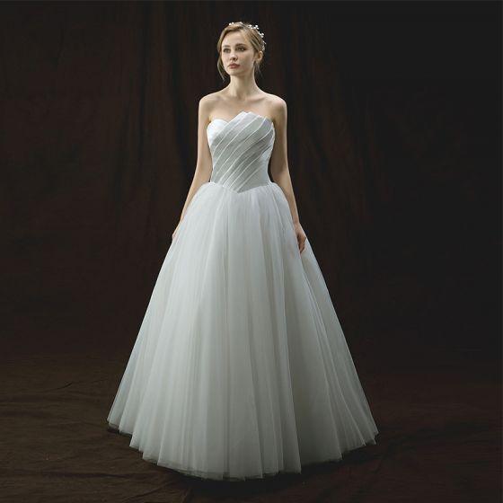 Proste / Simple Kość Słoniowa Suknie Ślubne 2018 Princessa Najpiękniejsze / Ekskluzywne Bez Ramiączek Bez Rękawów Bez Pleców Długie Wzburzyć