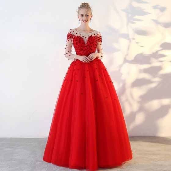 Chic / Beautiful Red Prom Dresses 2018 Ball Gown Lace Appliques Sequins Scoop Neck Backless Long Sleeve Floor-Length / Long Formal Dresses
