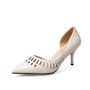 Moderne / Mode Beige Désinvolte Chaussures Femmes 2019 Cuir 7 cm Talons Aiguilles À Bout Pointu Talons Hauts
