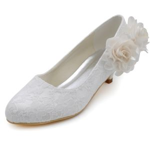 Light Sweet Lace Flowers Wedding Shoes Low-heeled Shoes Women's Singles Shoes Patty