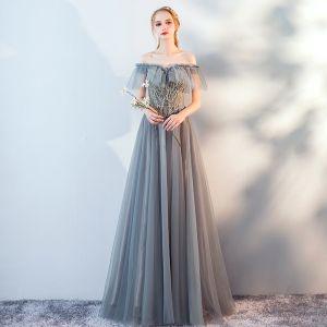 Mode Grau Spitze Blumen Abendkleider 2019 A Linie Off Shoulder Perlenstickerei Kurze Ärmel Rückenfreies Lange Festliche Kleider