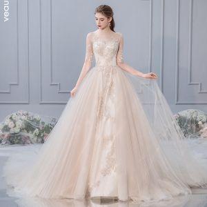 Schöne Champagner Brautkleider / Hochzeitskleider 2019 A Linie Rundhalsausschnitt Perlenstickerei Spitze Blumen 1/2 Ärmel Kathedrale Schleppe