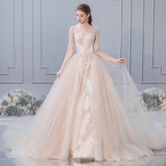 Schone Champagner Brautkleider Hochzeitskleider 2019 A Linie