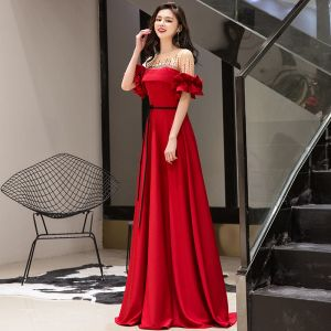 f92c85d1e Hermoso Rojo Vestidos de noche 2019 A-Line   Princess Scoop Escote  Rebordear Bowknot Manga
