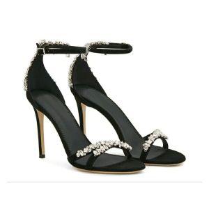 Moderne / Mode Noire Désinvolte Sandales Femme 2019 Cuir Bride Cheville Faux Diamant 10 cm Talons Aiguilles Peep Toes / Bout Ouvert Talons Hauts