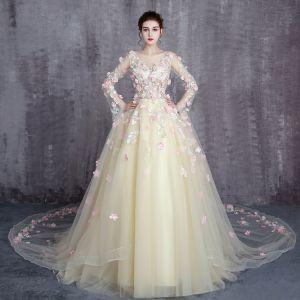Wróżka Kwiatowa Żółta Sukienki Na Bal 2017 Princessa Wycięciem Długie Rękawy Aplikacje Kwiat Wzburzyć Tiulowe Trenem Królewski Sukienki Wizytowe