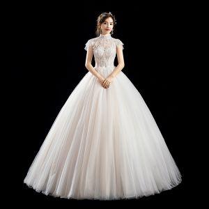 Chic / Belle Ivoire Robe De Mariée 2019 Princesse Col Haut Perlage Paillettes Appliques En Dentelle Fleur Manches Courtes Dos Nu Longue