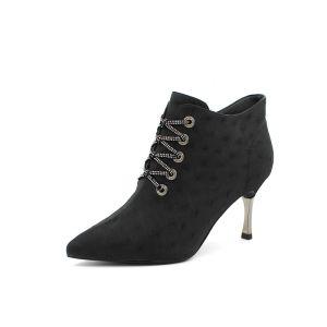 Mode Schwarz Strassenmode Strass Stiefel Damen 2020 7 cm Stilettos Spitzschuh Stiefel