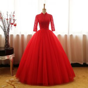 Chinese style Red Prom Dresses 2017 Ball Gown High Neck 3/4 Sleeve Sequins Beading Pearl Sash Floor-Length / Long Ruffle Backless Formal Dresses