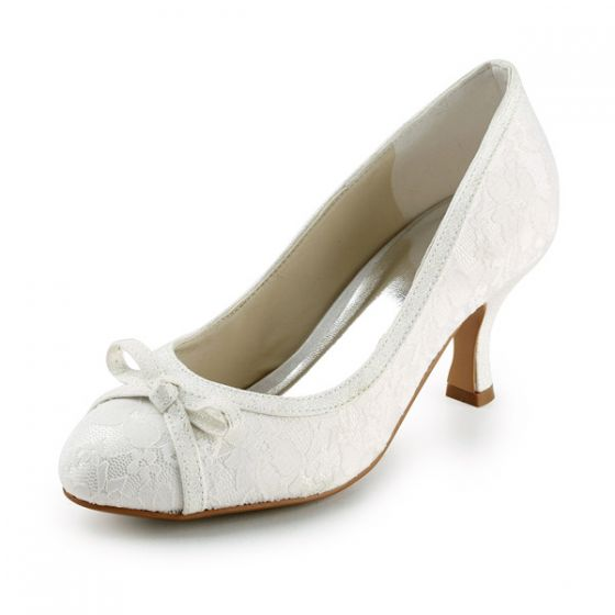 Chic Stiletto Heel Pumps Ivory Lace Bridal Wedding Shoes With Bow
