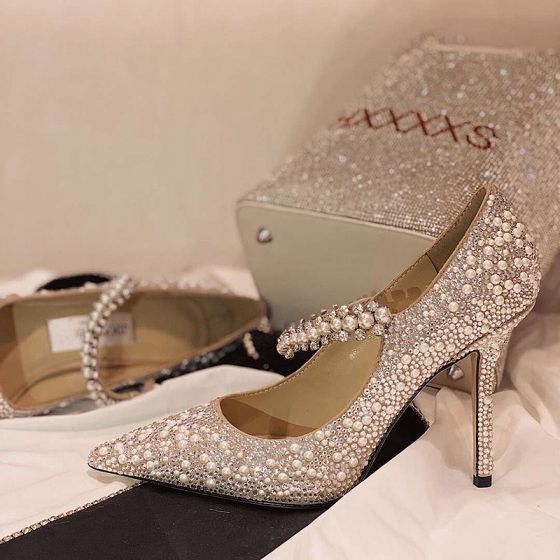 Sparkly Silver Sequins Wedding Shoes 2020 Leather Pearl 9 cm Stiletto Heels Pointed Toe Wedding Pumps