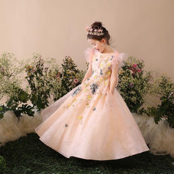 Fine Kirke Kjoler Til Bryllup 2017 Blomsterpikekjoler Perle Rosa Prinsesse Lange Scoop Halsen Korte Ermer Sløyfe Blonder Paljetter Appliques