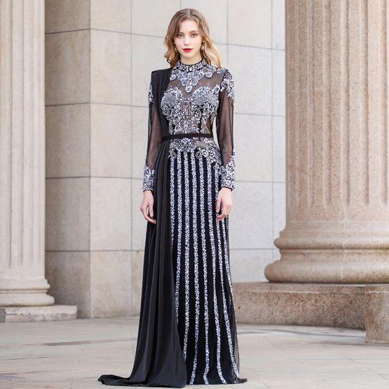 Luksusowe Czarne Przezroczyste Sukienki Wieczorowe 2020 Otoczka / Nadające Wysokiej Szyi Długie Rękawy Rhinestone Frezowanie Długie Wzburzyć Sukienki Wizytowe