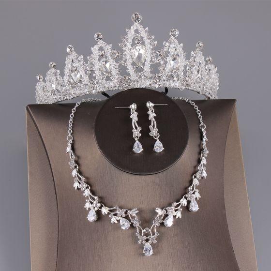 Chic / Belle Argenté Bijoux Mariage 2019 Métal Perlage Cristal Faux Diamant Tiare Boucles D'Oreilles Un Collier Mariage Accessorize