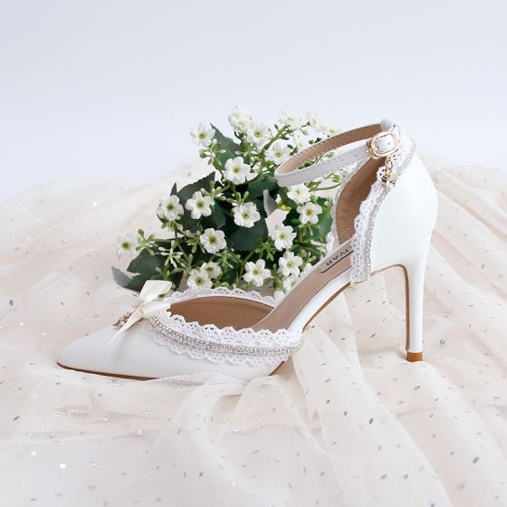 Elegant White Lace Rhinestone Wedding Shoes 2020 Ankle Strap 9 cm Stiletto Heels Pointed Toe Wedding Heels