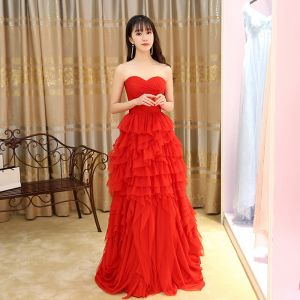 Chinese Stijl Rode Avondjurken 2017 A lijn Lange Geliefde Mouwloos Ruglooze Plooirok Gelegenheid Jurken
