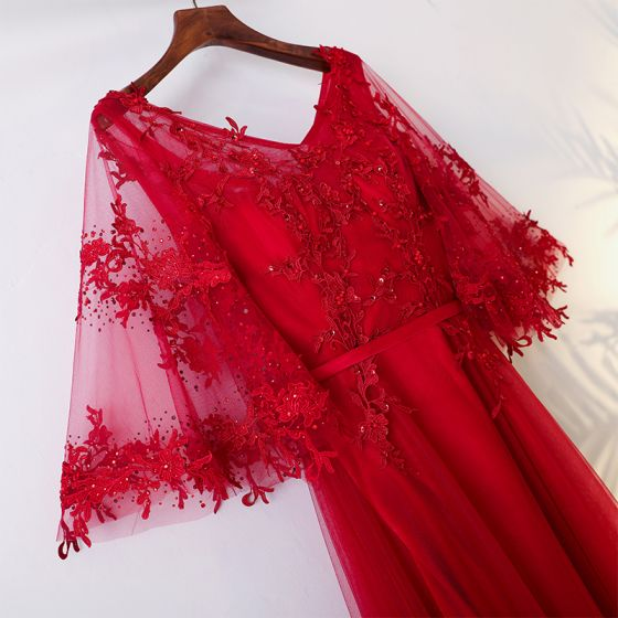 Chic / Beautiful Red Chinese style Evening Party 2017 A-Line / Princess V-Neck Crossed Straps 3/4 Sleeve Appliques Sequins Tea-length Evening Dresses