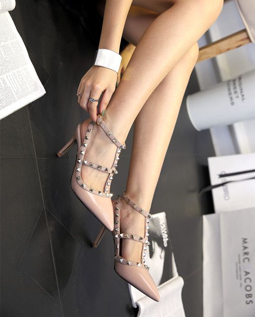 Modern / Fashion Nude Stiletto Heels Pumps 2017 Pointed Toe High Heels T-Strap Womens Shoes