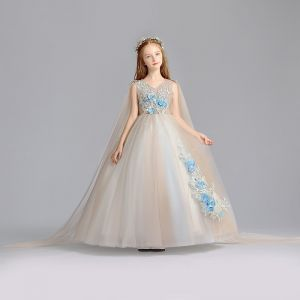 Elegant Champagne Flower Girl Dresses 2019 A-Line / Princess V-Neck Sleeveless Appliques Lace Pearl Floor-Length / Long Ruffle Wedding Party Dresses